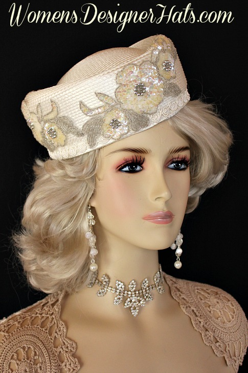 Ivory Sequin Beaded Pillbox Wedding Church Hat 0703d4fd95dc
