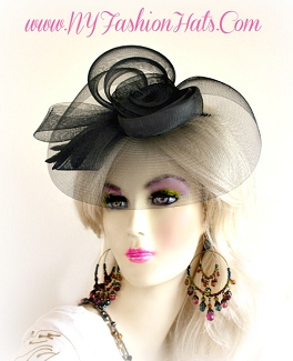 Black Designer Fascinator Cocktail Hat Wedding Funeral Hair Headpiece