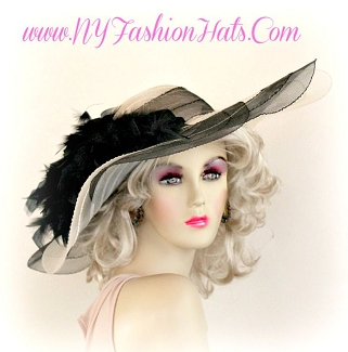 Black And Ivory Fashion Designer Dressy Formal Hat Ladies Hats 2JVM
