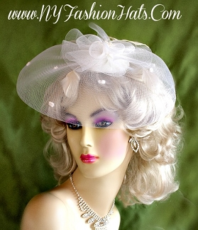 White Fascinator Cocktail Hat Bridal Wedding Headpiece Hair Accessory