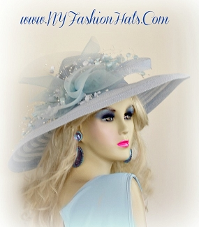 Baby Sky Blue Wide Brim Ladies Designer Hat Church Dress Hats MV91