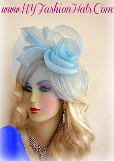 Ladies Baby Blue Royal Blue Red White Wedding Bridal Cocktail Hat 43A