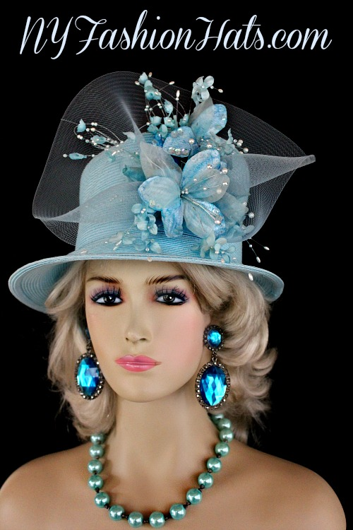 f239c732c92 Ladies Soft Pastel Sky Blue Custom Made Straw Braid Designer Kentucky Derby  Hat With Flowers. This Dress Shaped Hat Is Trimmed With Handmade Silk And  Velvet ...