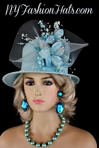 Soft Pastel Sky Blue Designer Wedding Church Hat Womans Formal Hats