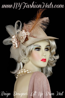 Ladies Beige Designer Hat With Satin Velvet Flowers Feathers, Hats