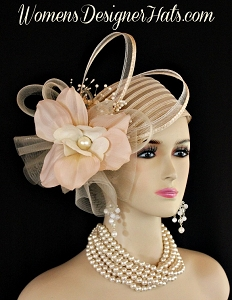 Ladies Beige Pillbox Couture Fashion Designer Hat Wedding Church Hats