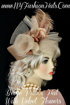 Hats Taupe Beige Pillbox Designer Fashion Church Hat, NY Fashion Hats