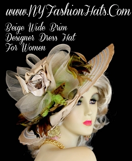Women's Beige Designer Hat Satin Rosettes Lime Olive Brown Feathers