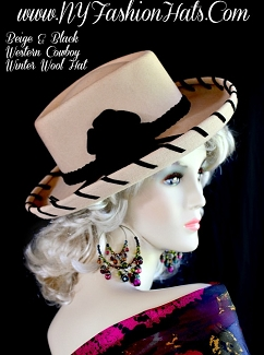 Ladies Beige Black Mauve Rose Pink Mustard Yellow Red Western Hats