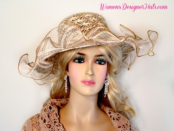 Coffee Taupe Beige Cream Ivory Wide Ruffled Edge Brim Couture Fashion Wedding Hat For Women This Brimmed Dress Is Trimmed With A Large Sheer