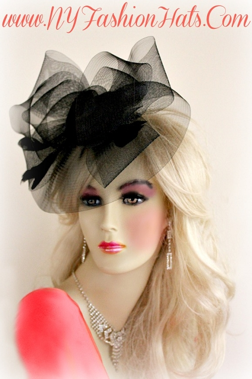 Women s Black Funeral Wedding Cocktail Hat Fascinator Headpiece 8e807db81cc