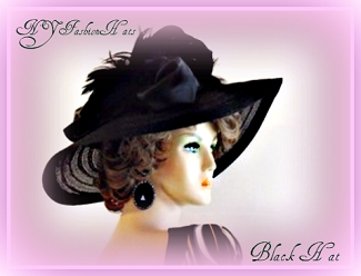 Black Wide Brim Designer Church Hat Ladies Custom Dress Hats 8HYB