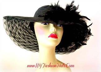 Ladies Wide Brim Black Hat With Feathers Kentucky Derby Fashion Hats