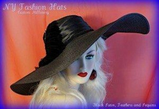 Black Wide Brim Church Horseracing Hat Ladies Designer Hats 4RGB
