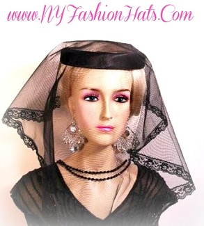 Black Funeral Veil Ladies Headcovering Mourning Hat NY Fashion Hats