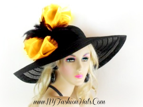 Black Wide Brim Designer Church Hat Ladies Formal Fashion Hats 0b29f23fa3f