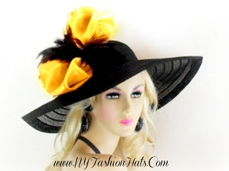 Black Wide Brim Designer Church Hat Ladies Formal Fashion Hats