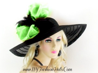 Black Wide Brim Designer Church Hat Ladies Custom Dress Hats 4G9