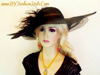 Black Wide Brim Dress Designer Hat Ladies Fashion Hats 9BUH