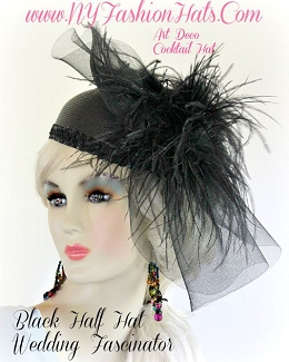 Ladies Black Designer Cocktail Hat With Feathers Wedding Church Hats