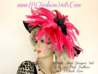Women's Black Designer Rose Kentucky Derby Hat With Hot Pink Feathers