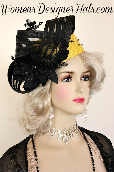 8af0eab2083 Ladies Black and Lemon Yellow Shaped Haute Couture Pillbox Designer Dress  Hat. This Hand Made Hat Black And Yellow Shaped Pillbox Fashion Hat Is  Trimmed ...