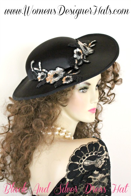 Black Satin Formal Fashion Hat With Beaded Silver And Black Sequin Appliques.  This Ladies Hat Is Suited For Weddings 9691b84c21ad