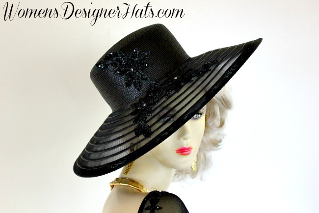de5ce47a153 Black Wide Brim Designer Kentucky Derby Hat For Women. This Dress Hat Is  Adorned With Black Sequin Glass Beaded Floral Appliques With Rhinestones.