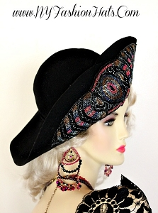 Black Winter Wool Vintage Classically Styled Designer Hat NYFashionHats