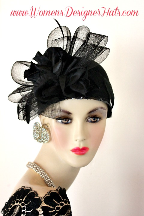 Woman s Black Custom Made Cloche Designer Fashion Pillbox Style Winter Wool  Hat. This Fashion Hat Is Inspired By The 1920s Flapper Era Hats. a69d1b310af