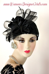 Black Winter Wool Cloche 1920s Flapper Cocktail Hat Ladies Dress Hats