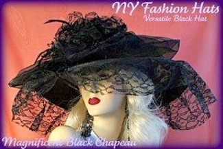 Ladies Black Wide Brim Lace Designer Dress Hat, Hats For Weddings