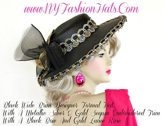 Black Dress Hat For Women With A Gold Rose, Dress Hat, NY Fashion Hats
