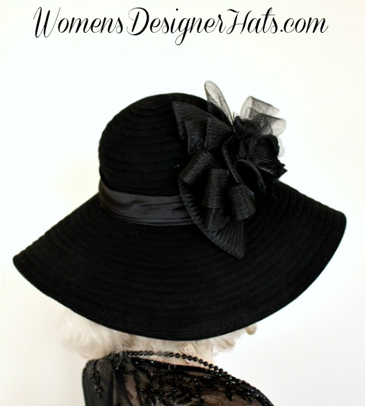 Black Wide Brim Floppy Designer Winter Velvet Hat b1c6f781ca2