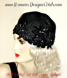 Black Satin Designer Cloche 1920s Flapper Hat Cocktail Hats For Women