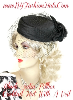 Ladies Women's Black Satin Organza Cocktail Hat Funeral Wedding Hats