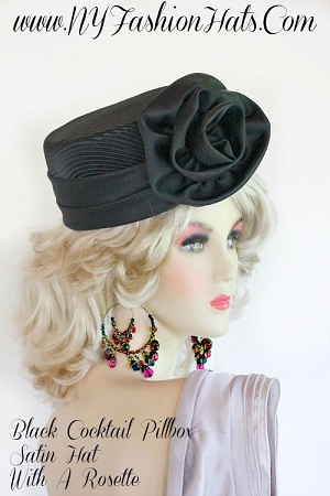 Ladies Formal Black Satin Designer Hat Special Occasion Church Hats