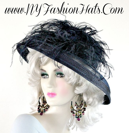 Women's Black Designer Formal Church Feather Hat Kentucky Derby Hats
