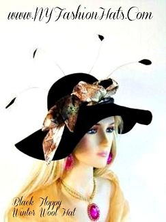 Ladies Black Floppy Wool Felt Designer Hat Fashion Autumn Hats 7UZ