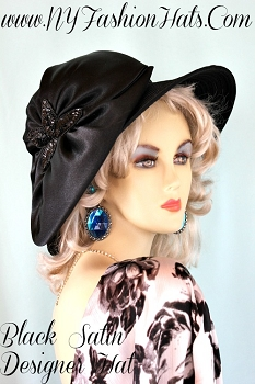 Ladies Black Designer Satin Special Occasion Dress Hat NY Fashion Hats