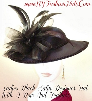 Ladies Black Satin Brim Designer Dress Formal Hat NY Fashion Hats