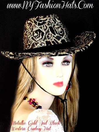 Ladies Black And Metallic Gold Designer Western Cowboy Hat Dress Hats