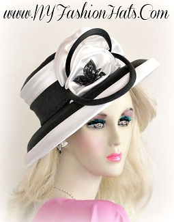 Women's Black And White Satin Designer Hat Wedding Fashion Hats V60