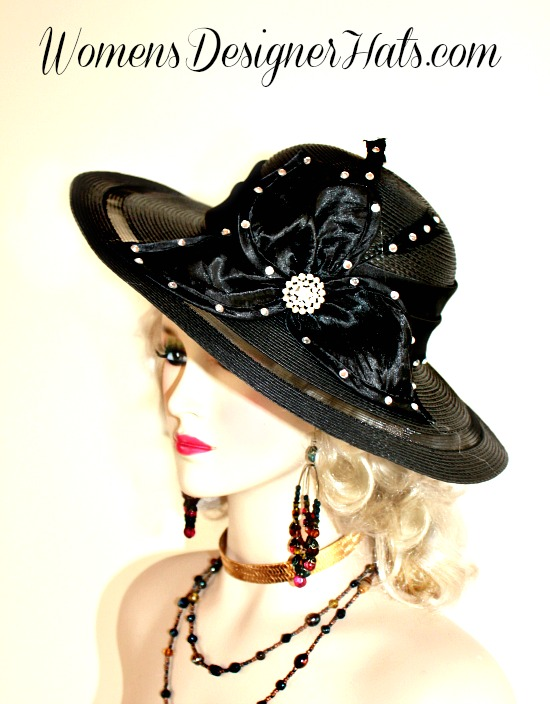 c106a7d9e77 Black Wide Brim Designer Kentucky Derby Hat For Women. This Dress Hat Is  Adorned With A Satin Bow