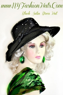 Ladies Black Satin Designer Dress Hat Formal Fashion Woman Hats H587