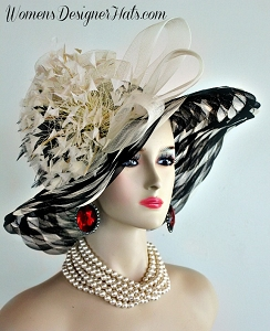 Ladies Black Cream Designer Fashion Hat Ivory Feathers Wedding Hats