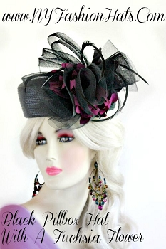 Ladies Black Dressy Designer Pillbox Hat With Fuchsia Flowers Hats