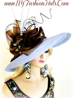 Pastel Blue And Brown Wide Brim Designer Ladies Tea Hat Church Hats