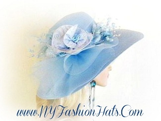 Baby Blue Wide Brim Designer Hat With Silk Flowers, NY Fashion Hats