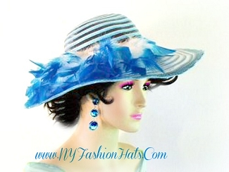 Blue Ivory White Black Ladies Designer Church Hat Wedding Hats 4NJQ